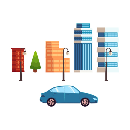 vector flat different urban objects and buildings set. Skyscrapers, office centers shopping mall and city apartment houses, a car, trees and streetlights. Isolated illustration on a white background