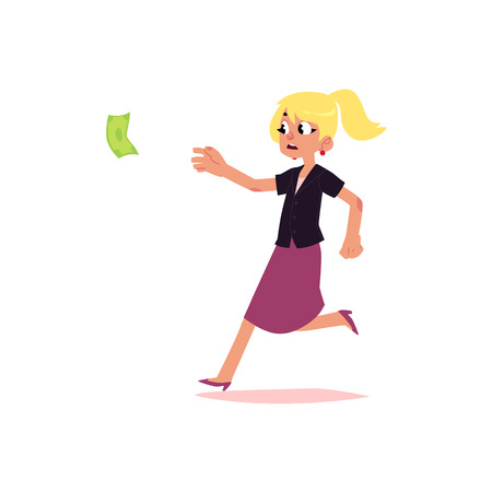 vector flat cartoon girl running for money. Female Clerk, office worker woman in skirt chasing, trying to catch for dollar note. Isolated illustration on a white background.