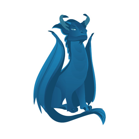vector flat cartoon colored blue majestic mythical dragon with horns and wings. Legendary mystery animal creature. Isolated illustration on a white background. Stok Fotoğraf - 89167478