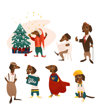 vector cartoon humanized dog characters set. Male animals in casual clothing, christmas elf near tree, and superhero costumes, in suit, with thank you poster standing and sitting. isolated illustration