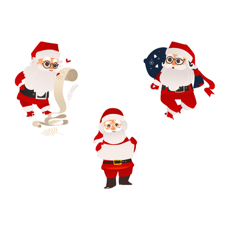 vector flat cartoon santa claus in christmas stockings and hat holding paper scroll, carrying big bag with presents and standing with poster set. Holiday illustration isolated on a white background Stock Photo