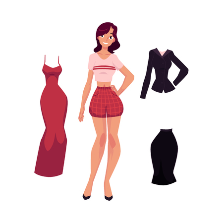 vector flat cute girl, woman in summer casual clothing - red shorts and shirt and office corporate suit, evening dress. Fashionable trendy style female. Isolated illustration on a white background.