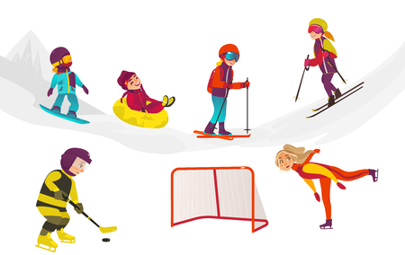 vector cartoon kids doing winter outdoor sport set. boy having fun riding inflatable rubber tube sled, girl ice skating, boys snowboarding and playing hockey. Isolated illustration on white background