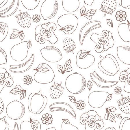 벡터 플랫 스케치 스타일 신선한 잘 익은 과일, 야채 단색 원활한 패턴. 애플, 라임 bellpepper 사과, 수 박 배, 오렌지 딸기 바나나, 브로콜리. 격리 된 그