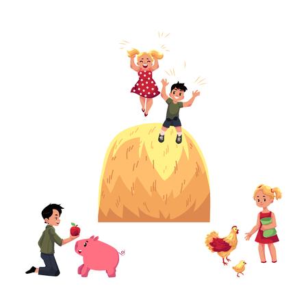 벡터 평면 하이 틴 시골 장면에서 어린이 설정합니다. 소년 돼지, 닭 및 수탉, 먹이를 먹이를 소년 큰 덤불 일 재생 아이. 흰색 배경에 고립 된 그림입니
