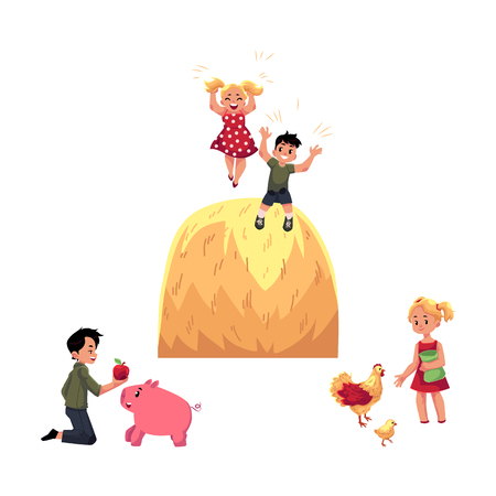 vector flat teen children at countryside scenes set. Boy feeding pig, girl feeding chickens and rooster, kids playing at big haystack. Isolated illustration on a white background. Stock Photo