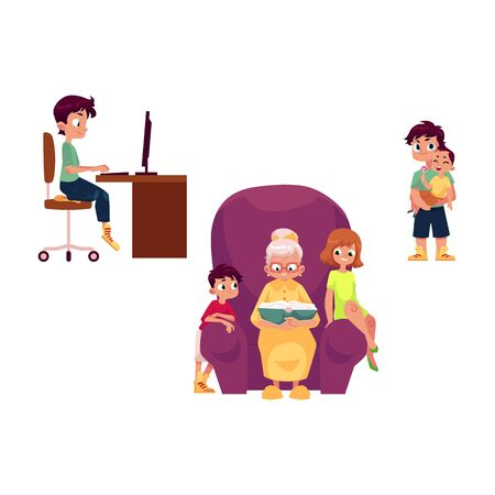 vector flat grandparents children set. boy, girl kids listen to grandmother reading book, at chair, teen boy sits at computer table, adult man holds baby. Isolated illustration on a white background. Stok Fotoğraf
