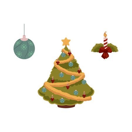 vector flat christmas holiday new year festive symbols set. Decorated spruce tree with balls, garlands and star, decorating ball and candle with bow. Isolated illustration on white background