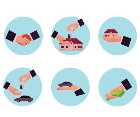 Mannelijke hand die geld, auto, huis, sleutel, aankoop, verkoop, het huren concept, beeldverhaal vectorillustratie geven in cirkels op witte achtergrond. Mannelijke handen geven, geld, auto, huis sleutel handdruk aanbieden