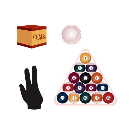 cue ball: Set of flat style billiard, snooker objects - fifteen balls in triangle rack, cue chalk and pool glove, vector illustration isolated on white background. Vector set of pool, billiard game objects