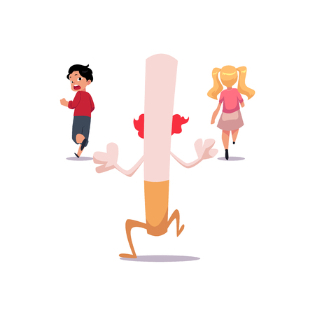 Huge evil cigarette running after two frightened kids, boy and girl, smoking as threat concept, cartoon vector illustration isolated on white background. Kids running from huge evil cigarette monster