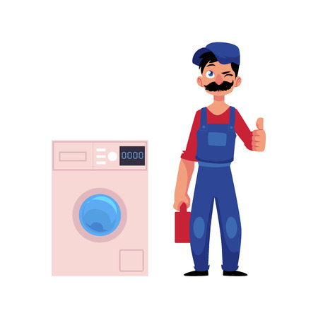 vector cartoon handsome man blumber in working uniform holding case with tools and equipment showing thumbs up, winking standing near fixed washing machine. isolated illustration on a white background