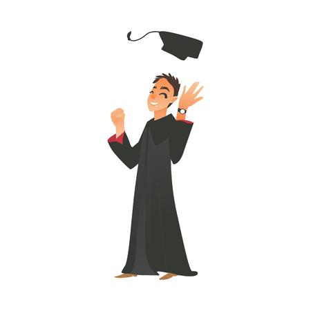 男の子を笑顔で卒業ガウンを投げる男キャップを幸せと興奮、フラットのベクトル図が白い背景の上分離されました。卒業の帽子を投げて幸せな卒