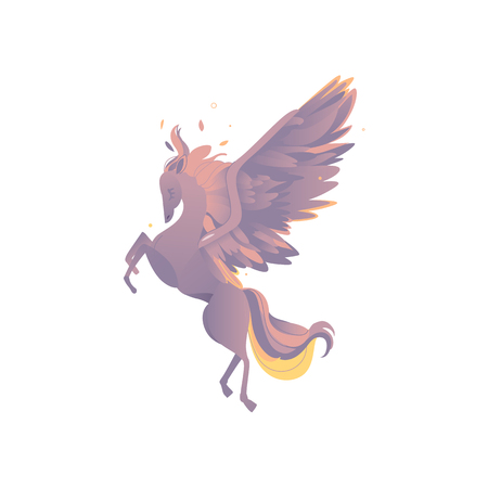 vector flat cartoon rearing Pegasus mythical animal - fairy fictional horse with eagle wings with rich plumage, feathering. Isolated illustration on a white background.