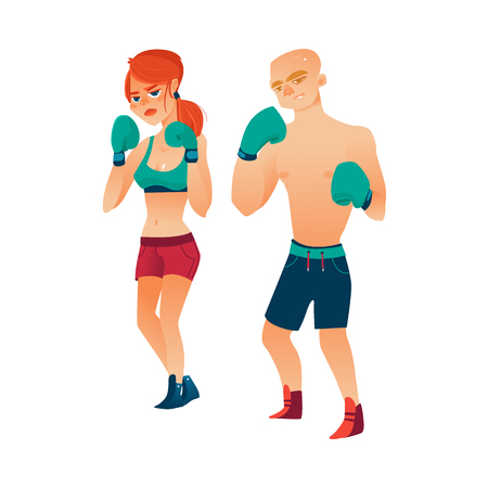 vector cartoon stylized muscular strong cute beautiful woman, girl and brutal thin man in boxing stand with green box gloves in fighting position set. Isolated illustration on a white background. Illustration