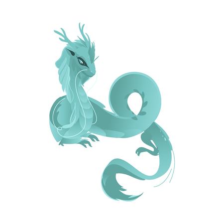 벡터 플랫 만화 컬러 블루 웅장 한 신화 용의 뿔과 날개. 전설적인 미스터리 동물. 흰색 배경에 고립 된 그림입니다.