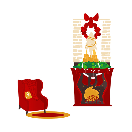 Fireplace, chimney, hearth with Christmas decorations and cozy armchair scene, cartoon vector illustration isolated on white background. Cozy Christmas place with fireplace and nice red armchair
