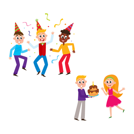 Friends wearing birthday hats, having fun at party, boy giving layered cake to happy girl, cartoon vector illustration isolated on white background. Young people, boys and girls, having birthday party