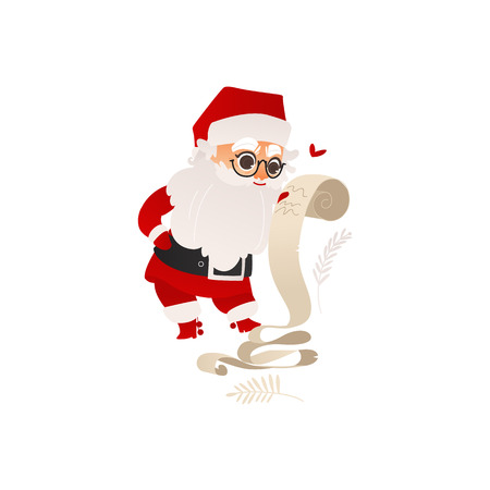Funny Santa Claus in glasses studying long list of Christmas presents, flat cartoon vector illustration isolated on white background. Santa Claus character in traditional costume with long gift list