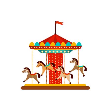Vector plano parque de atracciones concepto. Merry go round, Funfair carnival vintage carrusel de caballos voladores icono de color. Ilustración aislada sobre un fondo blanco.