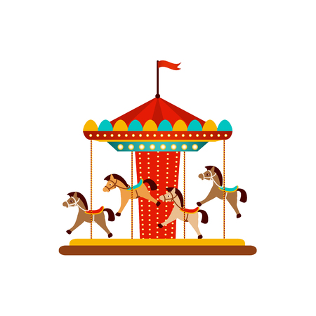 vector flat amusement park concept. Merry go round, Funfair carnival vintage flying horse carousel colored icon. Isolated illustration on a white background. Stock Illustratie