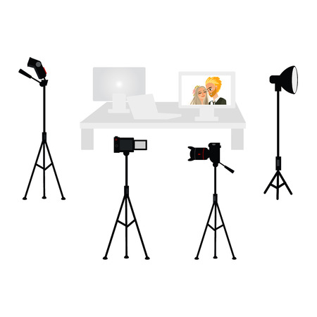 Professional photo studio equipment set - camera, tripod, flash, light, computer, laptop and display, flat cartoon vector illustration on white background. Set of professional photo studio equipment