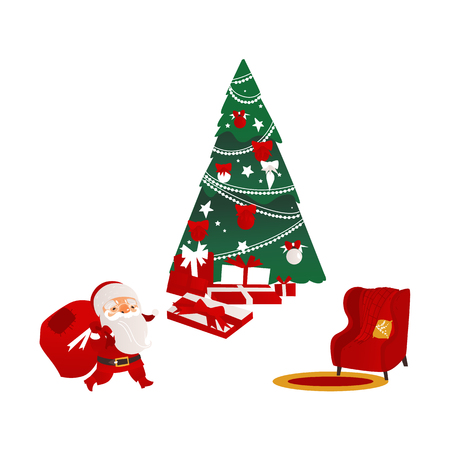 Funny Santa Claus, beautiful Christmas tree, many presents and cozy armchair, flat cartoon vector illustration isolated on white background. Christmas elements - Santa, fir tree, presents and armchair Illustration