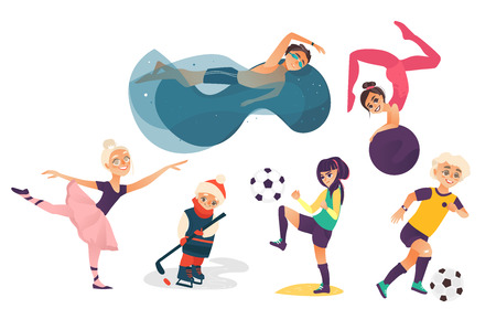 vector cartoon kids doing sports set isolated. Girl playing football, another doing stretching gymnastics exercise with ball, ballerina dancing, boys swimming in pool, playing ice hockey and football. Illustration