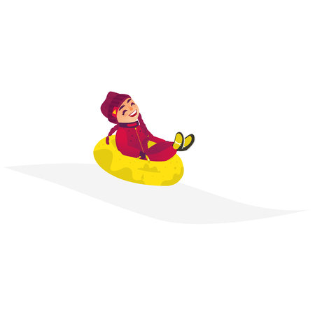 vector cartoon stylized teen girl kid with pigtails having fun riding inflatable yellow bright rubber tube sled, tubing in winter outdoor clothing laughing. Isolated illustration on a white background