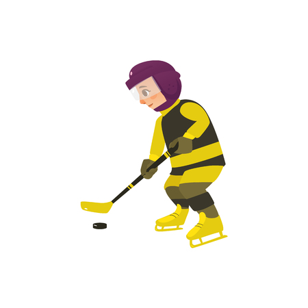vector cartoon stylized teen boy kid playing ice hockey standing in protective striped yellow clothing, helmet ice skating with hockey stick. Isolated illustration on a white background.