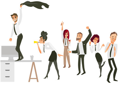 Happy people, men and women, having fun, dancing, drinking at corporate party, flat cartoon vector illustration isolated on white background. People having corporate party in office Ilustração