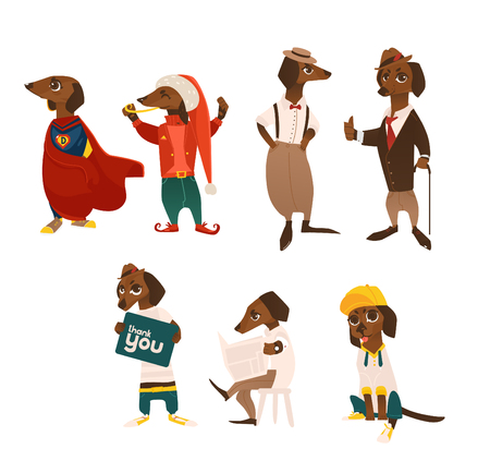 vector cartoon humanized dog characters set. Male animals in casual clothing, christmas elf and costumes, in suit, with thank you poster standing and sitting. isolated illustration