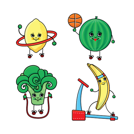 vector flat sketch fruits, vegetables characters doing sport set. banana running on treadmill, watermelon playing basketball, lemon, broccoli working out with hoola hoop and jumping, skipping rope.