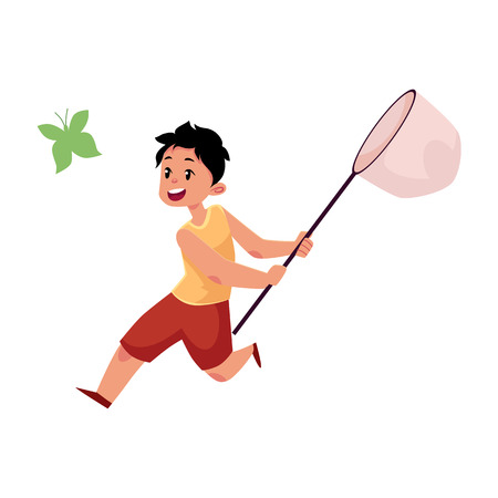 vector flat cartoon funny teen boy child at meadow catching butterflies with net. Kids at countryside concept. Isolated illustration on a white background.