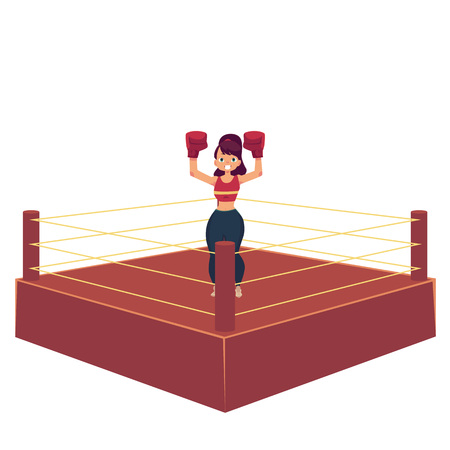 vector cartoon muscular strong cute beautiful woman, girl standing with hands in red boxing gloves raised up smiling like winner in ring. Isolated illustration on a white background.