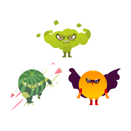 Funny broccoli, orange and watermelon hero, superhero character, guard, flat style cartoon vector illustrations isolated on white background. Athlete broccoli, ninja watermelon, superhero orange