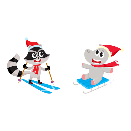 Skiing raccoon and sledding hippo, two funny animal characters having fun in winter, cartoon vector illustration isolated on white background. Little raccoon and hippo characters skiing and sledding