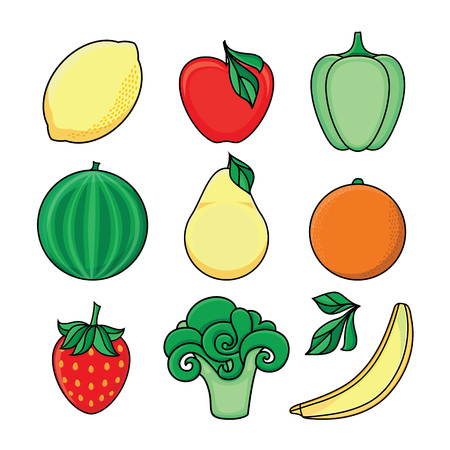 vector flat sketch style fresh ripe fruits, vegetables set. Apple, lime bellpepper apple, watermelon pear, orange strawberry banana, broccoli. Isolated illustration on a white background.