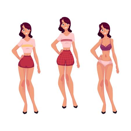若いスリム女性、女の子で下着とパジャマ、白い背景で隔離の漫画ベクトル図です。漫画の女性は、下着やパジャマの女の子の完全な長さ正面肖像