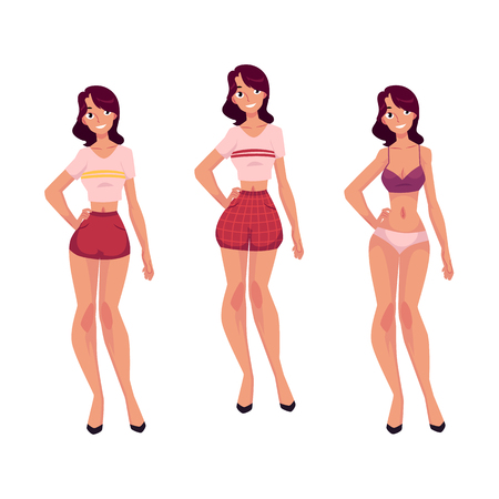 Young slim woman, girl in underwear and pajamas, cartoon vector illustration isolated on white background. Full length front view portrait of cartoon woman, girl in underwear and pajamas Ilustração