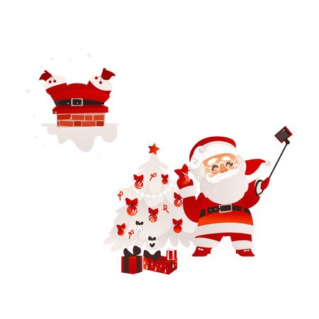 vector flat santa claus in christmas clothing stuck in the chimney on the roof and making selfie by stick with present box pile set. Holiday illustration isolated on a white background. Illustration