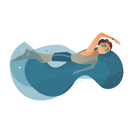 vector de dibujos animados joven muchacho adolescente nadando en la piscina de agua estilizada en gafas, relojes. Atleta masculino en el entrenamiento de ropa deportiva. Ilustración aislada en un fondo blanco.
