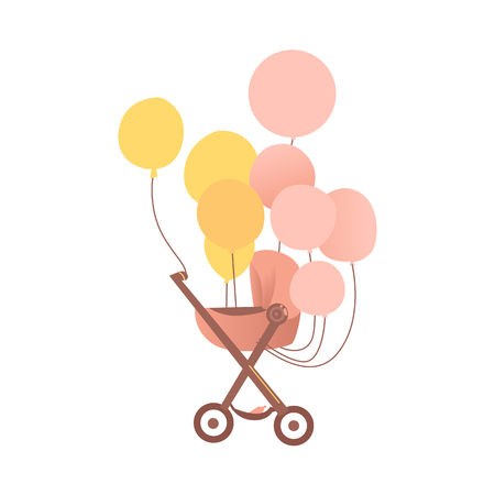 vector flat cartoon pink baby carriage or stroller, pram perambulator with congratulatory air colored balloons . Isolated illustration on a white background.