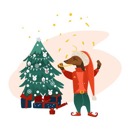 vector cartoon stylized humanized dachshund dog character near decorated christmas tree with presents. Animal in christmas hat elf costume with candy. Isolated illustration on a white background