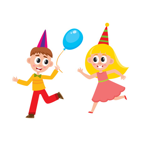 vector flat cartoon boy and girl kid dancing in party hat, running with blue air balloon smiling . isolated illustration on a white background. Kids patty concept