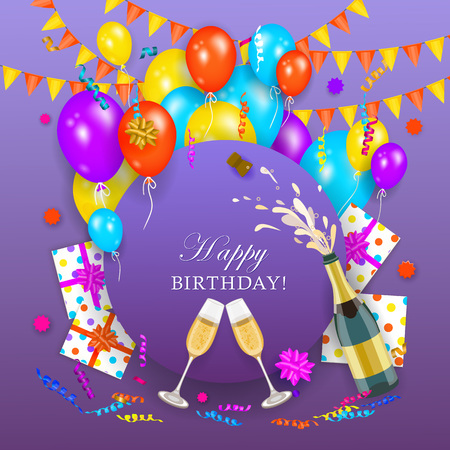 vector happy birthday invitation card, poster banner template with air balloons, party hats present boxes in wrapping, opened gushing shampagne bottle with wineglasses. Purple background illustration Иллюстрация
