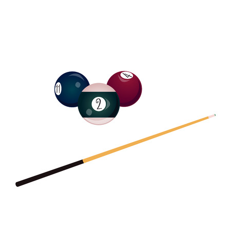 vector flat colored balls with numbers and wooden cue with black handle. Isolated illustration on a white background. Professional snooker set, pool billiard equipment, instrument for your design. Illustration