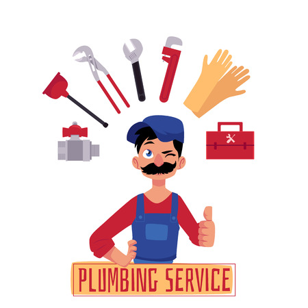 vector cartoon man blumber in working uniform, cap and mustache showing thumbs up, winking plumbing service inscription and tools and equipment set. isolated illustration, white background