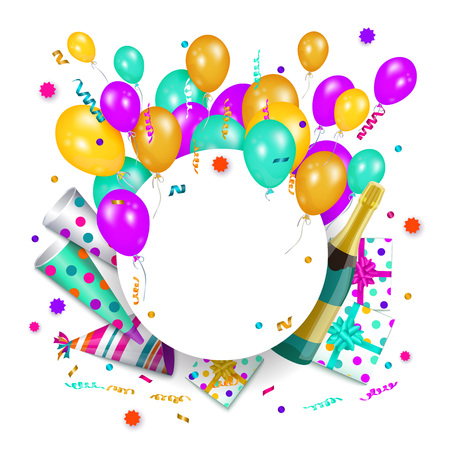 vector happy birthday congratulatory card, poster banner design template with colored glossy air balloons, party hats present boxes in bright wrapping, shampagne bottle. White background illustration Иллюстрация