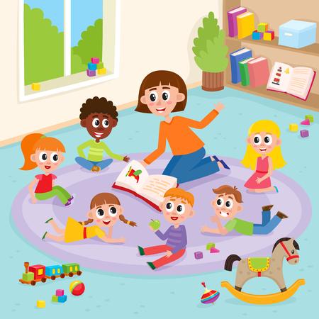 Kindergarten kids in classroom and teacher who reads them a book, comic, cartoon vector illustration. Teacher reading book to kids sitting around, listening with interest, kindergarten interior